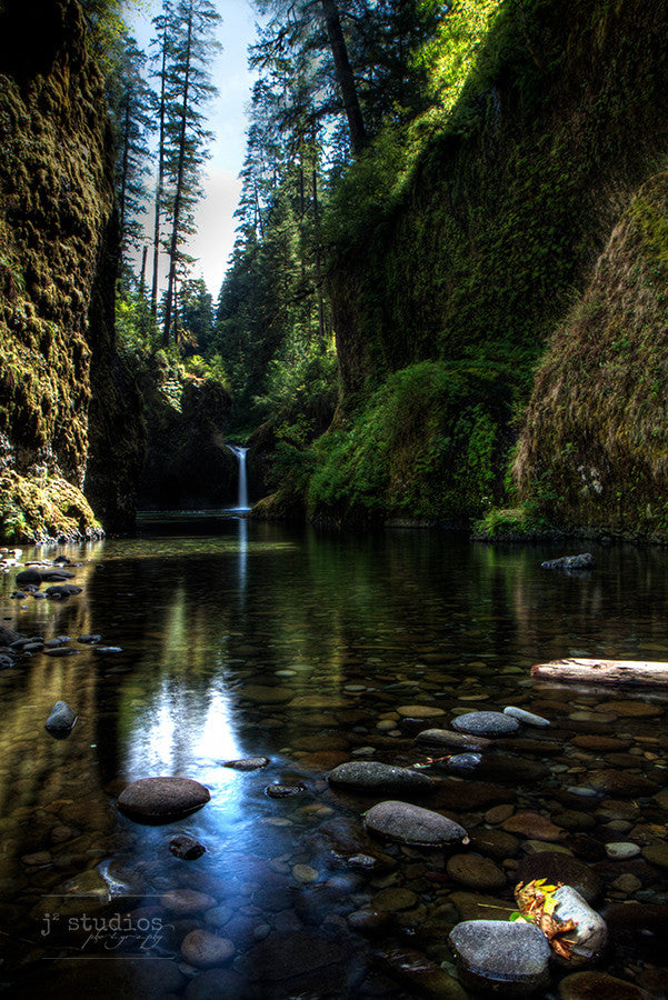 Eagle Creek is an art print the Punchbowl Falls area in the Columbia River Gorge, Oregon. Waterfall Photography.