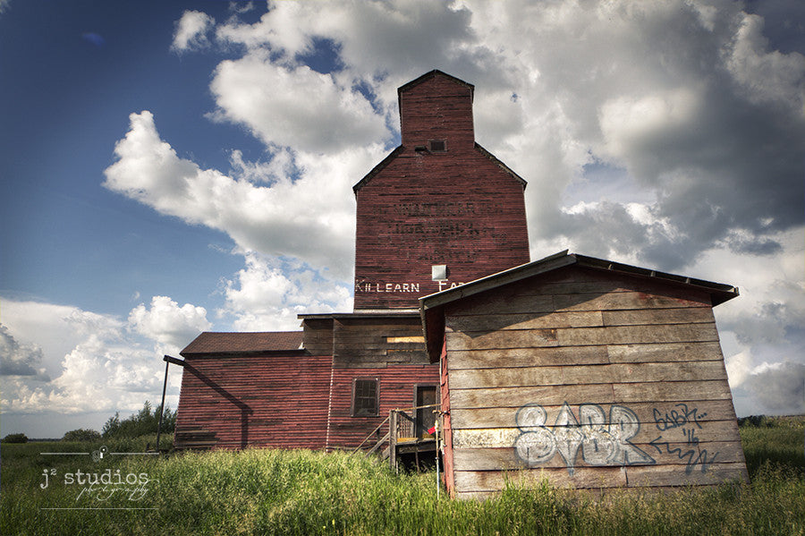 Art print with urban and country themes. Graffiti written on this charming elevator in Shonts, Alberta. Canadian Prairies Photography.