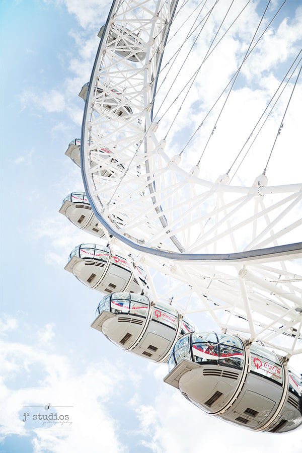 Art print of the most famous Ferris Wheel in England, the London Eye. Nursery room decor travel photography.