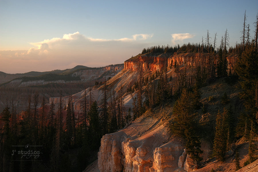 Fiery Hues of Cedar Breaks is an art print of the sandstone cliffs of Cedar Breaks National Monument in Utah.
