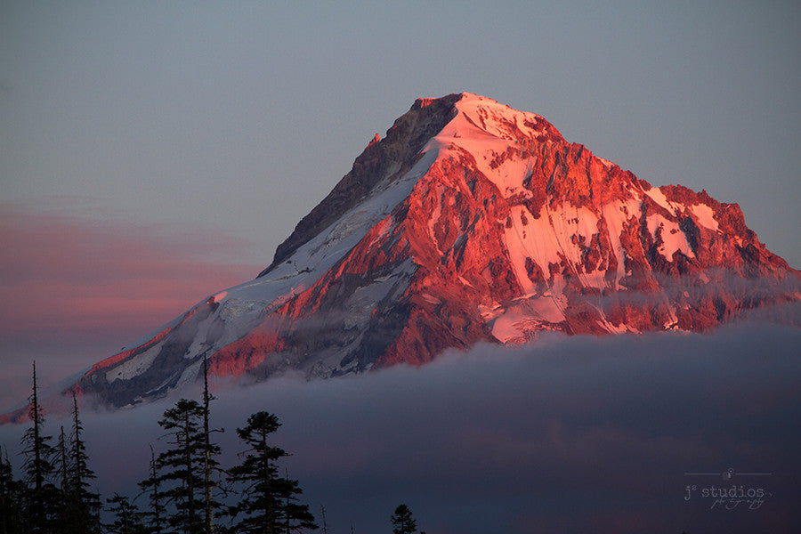 Fiery Peak is an image of the top of Mount Hood at sunset.