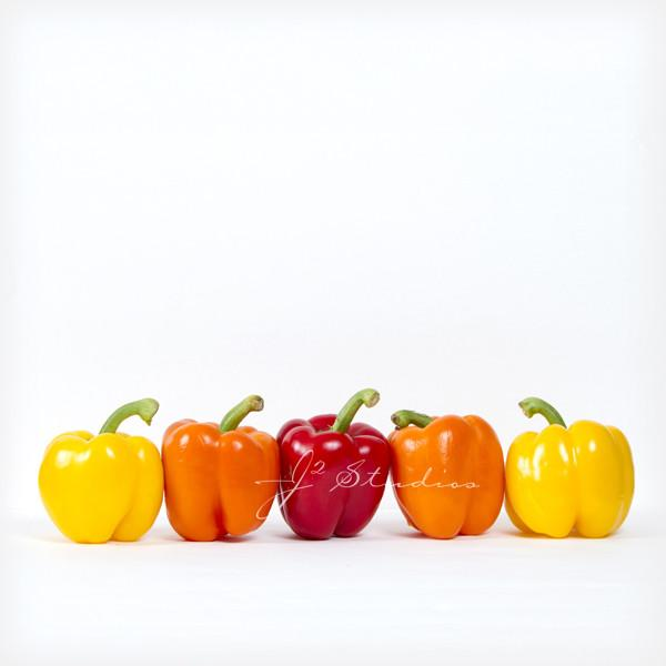 Friends is a minimalist inspired photograph of group of peppers hanging out like friends. Kitchen decor, Vegetable art. Whimsical decor by J2 Studios