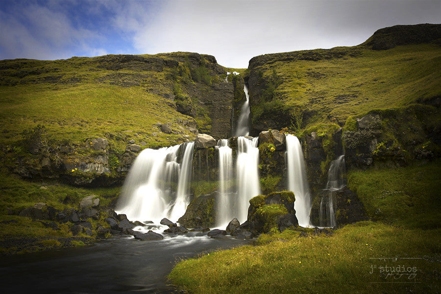 Gluggafoss is an image of the inverted trident shaped waterfall on the Merkja river in South Iceland. Icelandic Landscape Photography.