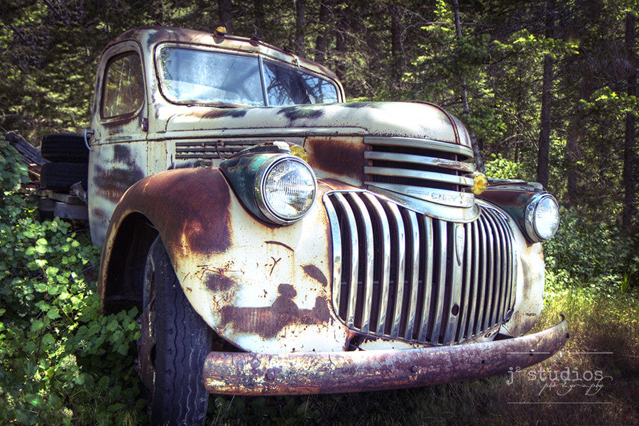 Grinning in the Forest is an art print of an abandoned 1940s Chevy Truck in the woods of Montana. Old truck photography.