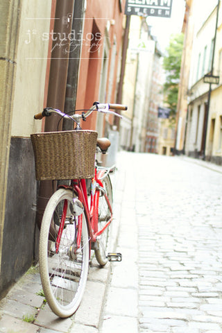 My Happy Bike is an art print of a parked bicycle in Stockholm Sweden.