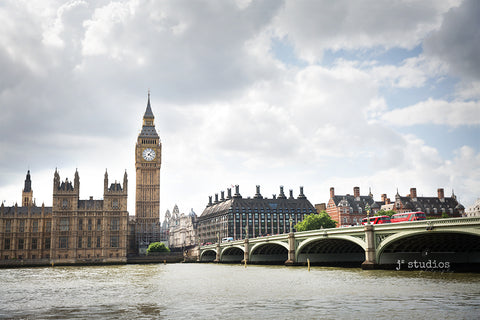 Chic urban themed art print of Parliament, the Elizabeth Clock Tower, Westminster Bridge. City skyline photography.