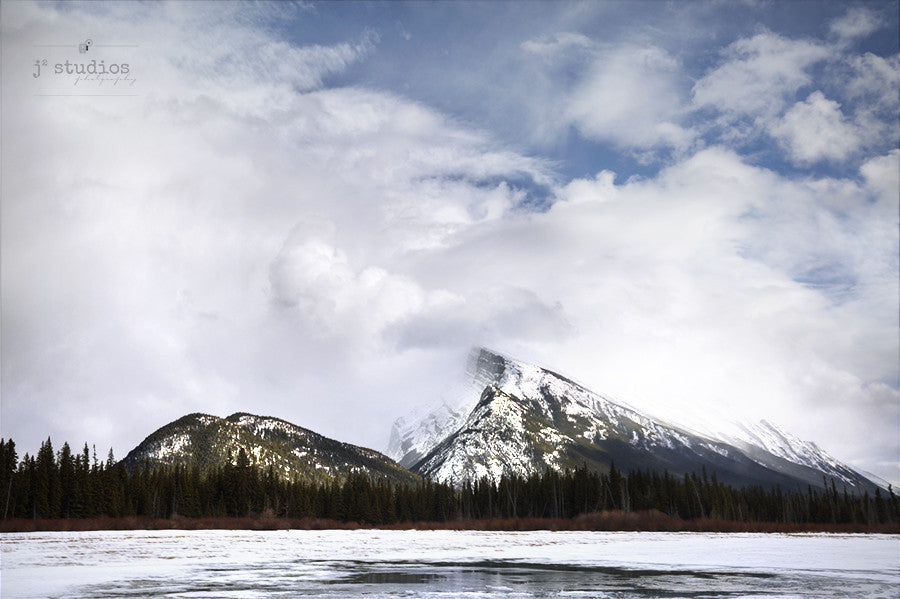 Art Print of Rundle Mountain partially obscured by clouds. Banff Landscape Photography.