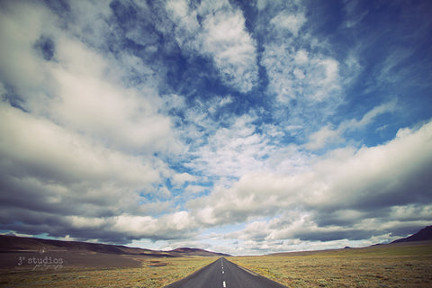 Journey and Explore (No Words) is an art print of a highway in Iceland.