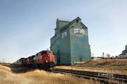 Fine art photograph of a CN locomotive & freight train roaring by  Bashaw Processors Grain Elevator.