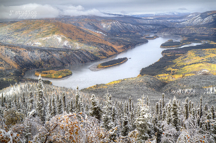 Late Autumn's Valley is an art print of fall colors and snow mixed together in the Klondike Valley of Yukon.