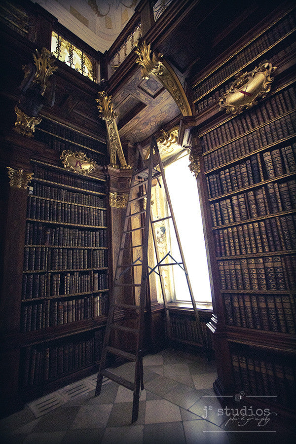Library is an image of a library room in Austria. Travel Photography.