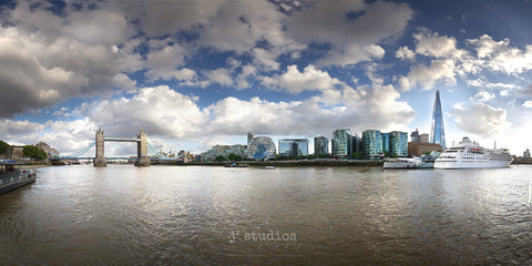 Fine Art Print of the London, England skyline and the Tower Bridge Looming over the Thames River. Travel Photography.