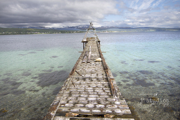 Old Pier is an art print of a rickety pier on an arctic lake in Northern Norway.