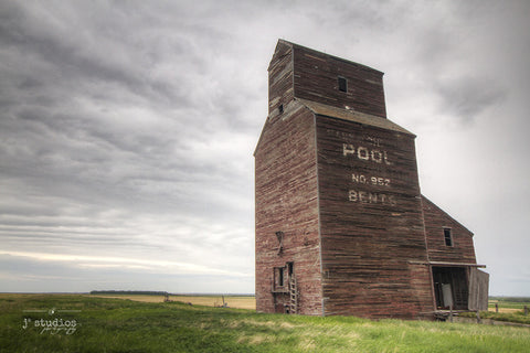 Once Upon a Time in Bents is an image of an abandoned Saskatchewan Wheat Pool grain elevator.