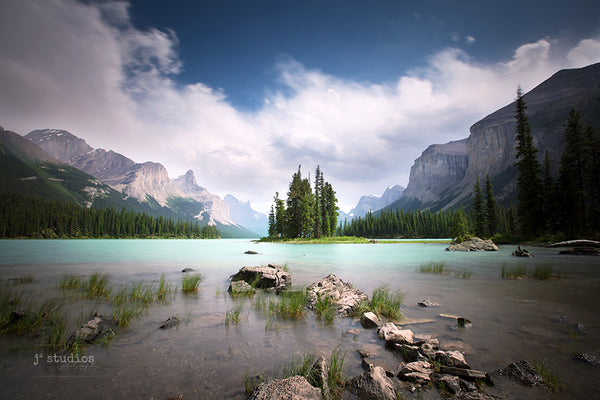 Image of Spirit Island on Maligne Lake in Jasper National Park in Alberta. World Famous Iconic. Peaceful Home Decor.