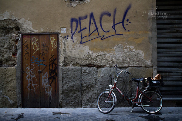 Peach Was Here parked bike and graffiti art print in Florence Italy.