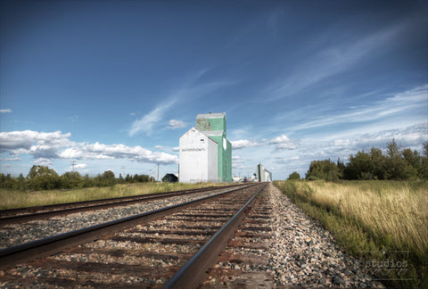 Prairie Sentinel in Mayerthorpe is an image of the railroad tracks heading towards Mayerthorpe's grain elevators.Railway photography.