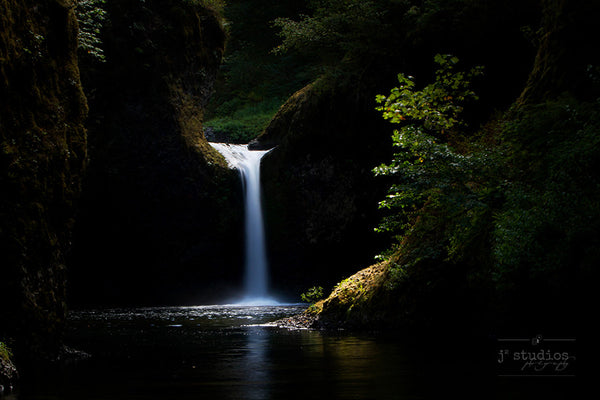 Punchbowl Aglow is an art print of Punch Bowl Falls in the Columbia River Gorge in Oregon.