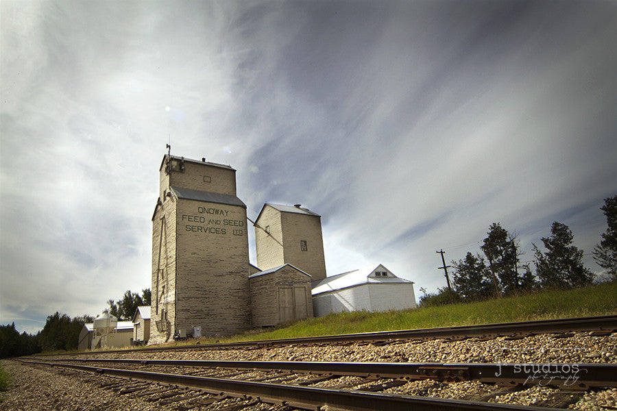 Railroad to Onoway is an art print of the weathered Onoway Feed and Seed Services grain elevator in Onoway. Heritage photography.