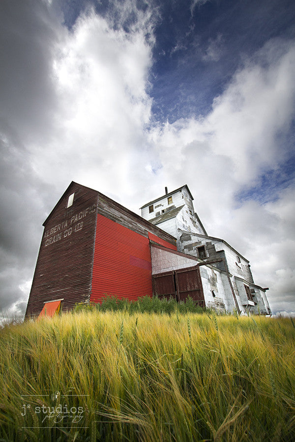 Art print of the majestic and old grain elevator in Raley, Alberta. Canadian Prairies Photography.