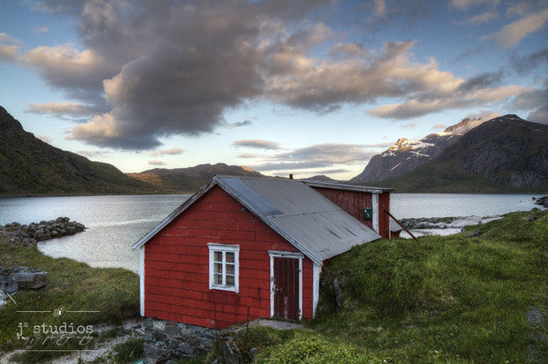 Red Cabin in the Fjord is an art print from Lofoten, Norway.