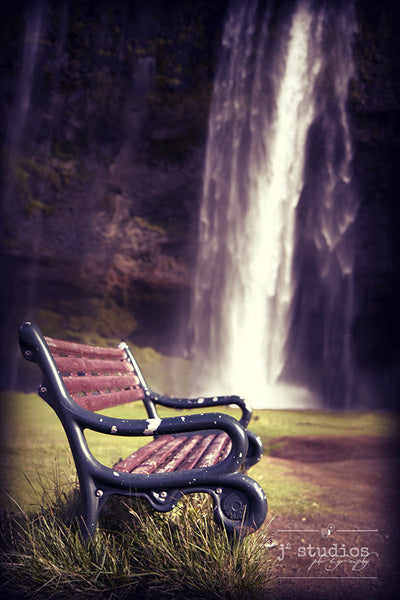 Reflections by the Falls, Seljalandsfoss Iceland park bench photography art print