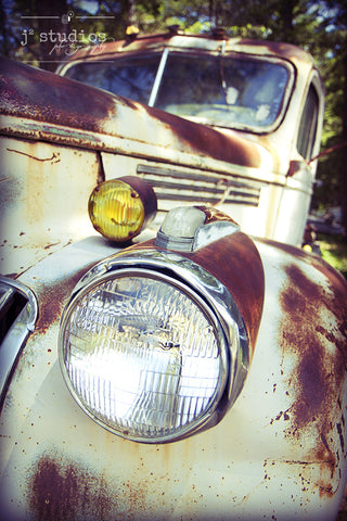 Rusty Lights is a fine art photograph of a headlight on a 1940s Chevy truck. Beautiful art print.