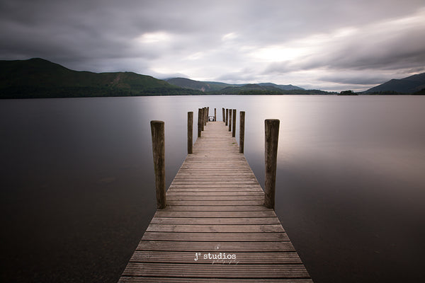 Serene is a peaceful soothing pier inspired image on the Lake District. Symmetry. Yoga Meditation themed photography.