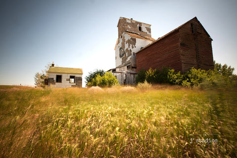 Sentimental themed image of the ghost town Sharples. The abandoned P&H grain elevator by the field of wild grass, blowing in the wind....  Prairie love art print.