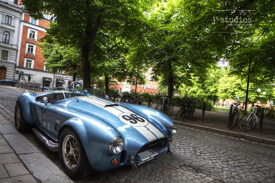 Shelby in  Stockholm is an image of a Shelby Cobra in Södermalm Sweden. Old Car Photography.