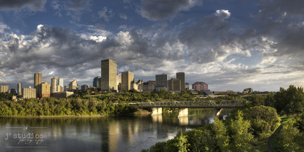 Shine Upon Edmonton is an art print of capital city in Alberta sitting on the hills of the North Saskatchewan River.