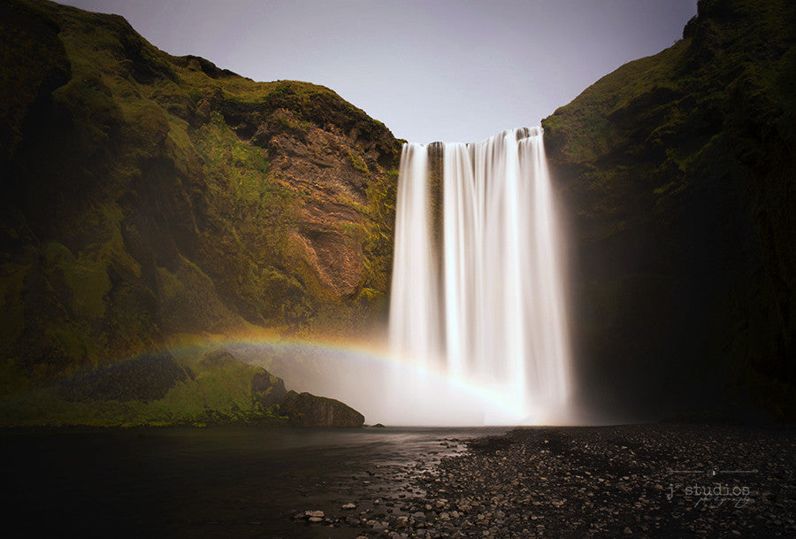Skogafoss's Rainbow is a timeless image of the famous waterfall in Southern Iceland. Icelandic Landscape Photography.