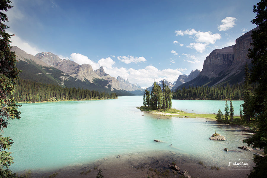 Postcard themed image of the iconic Spirit Island sitting in the turquoise waters of Maligne Lake in Jasper National Park, Alberta. Fine Art Print Home Decor.