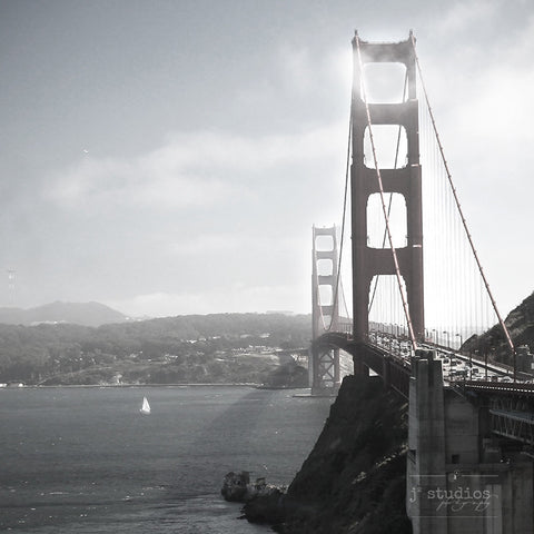 Golden Gate Bridge is a black and white photograph of the famous landmark in San Francisco.