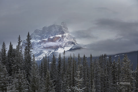 Art Print of storm clouds rolling into Castle Mountain. Dramatic landscape photography.