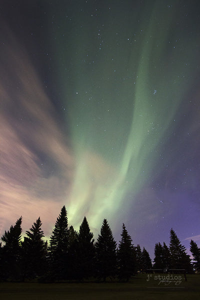 Streaming Aurora is an art print of the northern lights over south Edmonton.