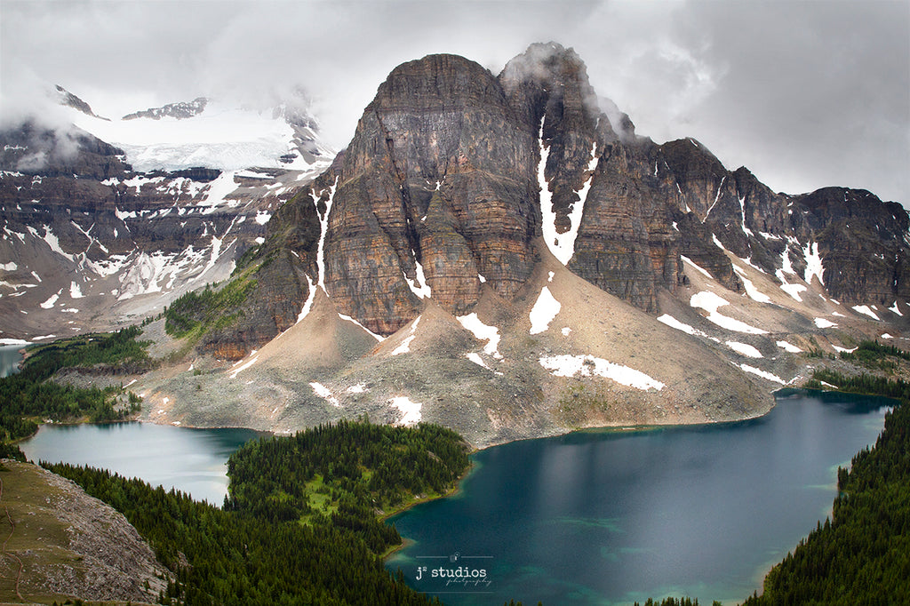 Gorgeous image of Sunburst Peak Cerulean & Sunburst Lakes in Mount Assiniboine Provincial Park. Best postcard quality British Columbia Alberta Landscape Photography. by Larry Jang.