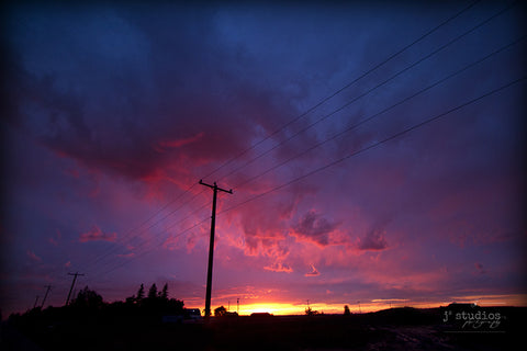Sunset on the Prairies is a sunset after a particularly dramatic and violent summer thunderstorm. Alberta photography.