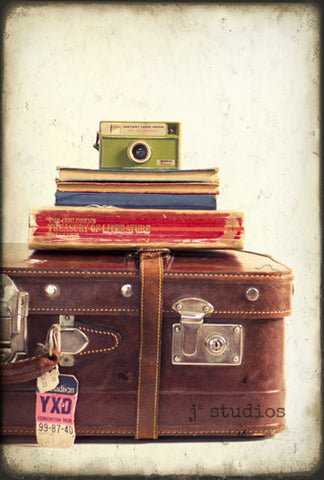 Take Me With You - Nostalgia Vintage Camera Suitcase Books Photography Art Print