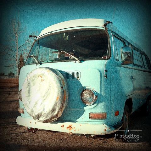 VW Van is an art print of an old baby blue hippy 1960s Volkswagen van.