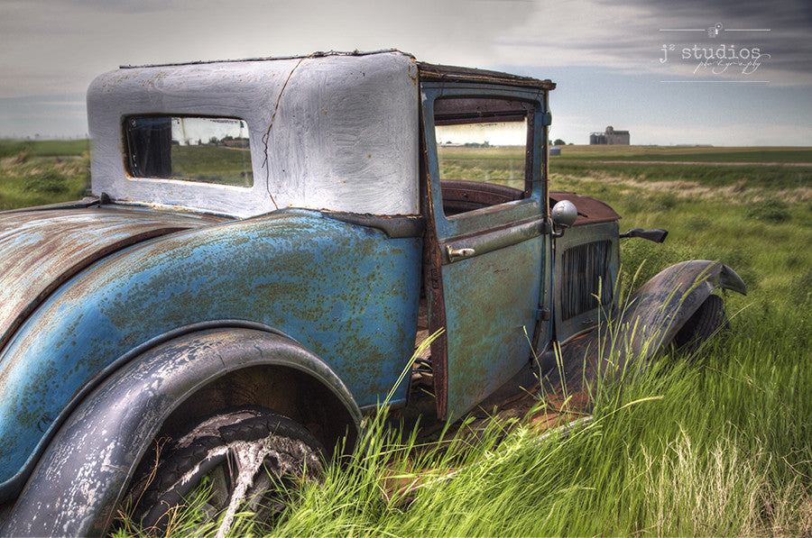 View of the Prairies - Saskatchewan Jalopy Abandoned Car Photography Art Print