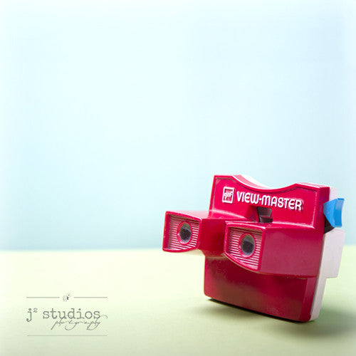 Viewmaster is an art print of the red 1970s stereoscopic toy.