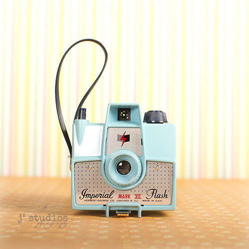 Vintage Camera #3 is an art print of the Imperial Mark VIII box film camera.