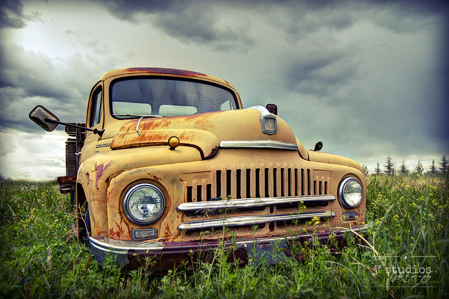 Vintage International is a fine art photography print of a yellow International truck in Southern Alberta. Jalopy Photography.