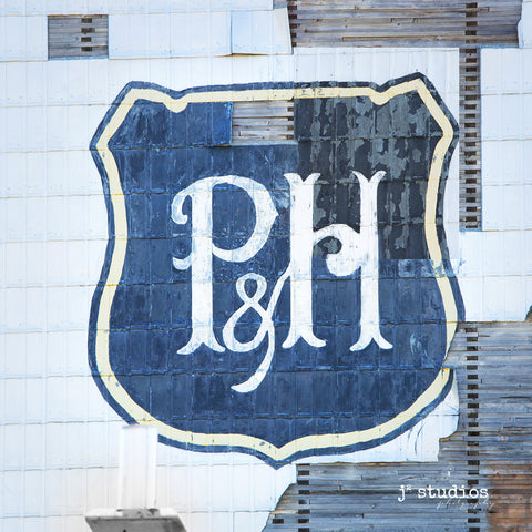 Art print of the vintage P&H sig as remembered by the countless grain elevators that adorned the Canadian Prairies.