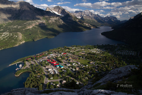 Art Print of the Village of Waterton as seen on Bear's Hump. Iconic images of Canada.