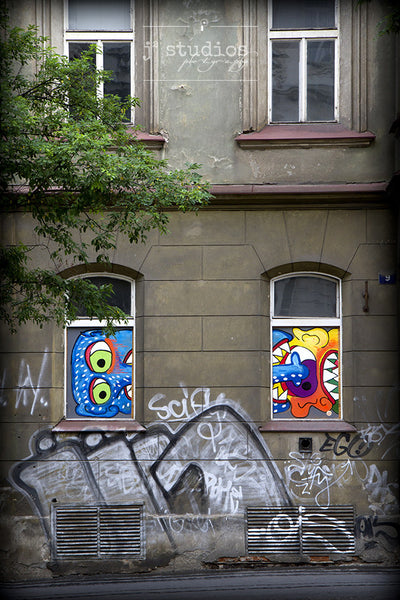 Window Faces is a street art themed print from Prague. Graffiti photography.