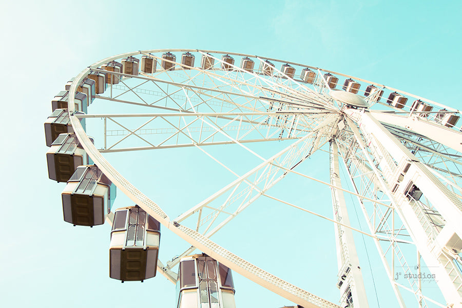 Ferris Wheel Dreams is an image of a carnival ride in Paris, France. Stylish art print.