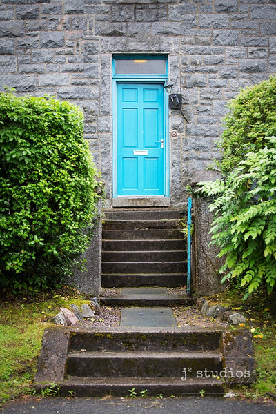 Art print of a baby blue door in a charming Scottish village. Doors and Windows Photography of the world.