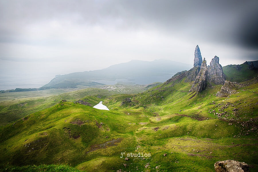Photograph of the Sanctuary a grouping of rocks on the Old Man Storr hike in Isle of Skye in Scotland. Landscape Photography.